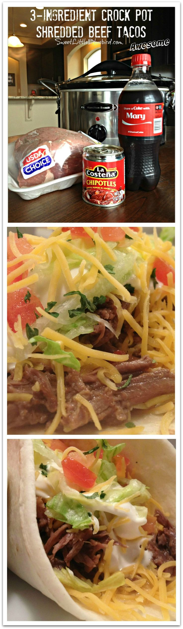 AWESOME 3-INGREDIENT CROCK POT SHREDDED BEEF TACOS!!! Tried & True recipe - So darn good, I am kicking myself for not trying this recipe sooner!  |  SweetLittleBluebird.com
