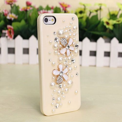 C0104 2pc x 26mm White enamel gold alloy rhinestone flower cabochons-diy phone