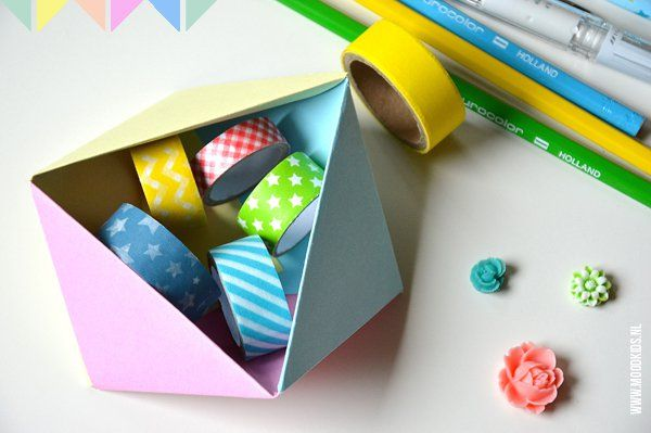 Stap voor stap foto uitleg over een geometrisch origami doosje vouwen. Volg de duidelijk vouwinstructie en ga direct aan de slag. #juf