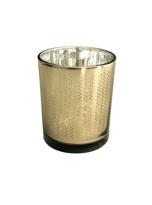 Ljuslykta i strassmönstrat glas