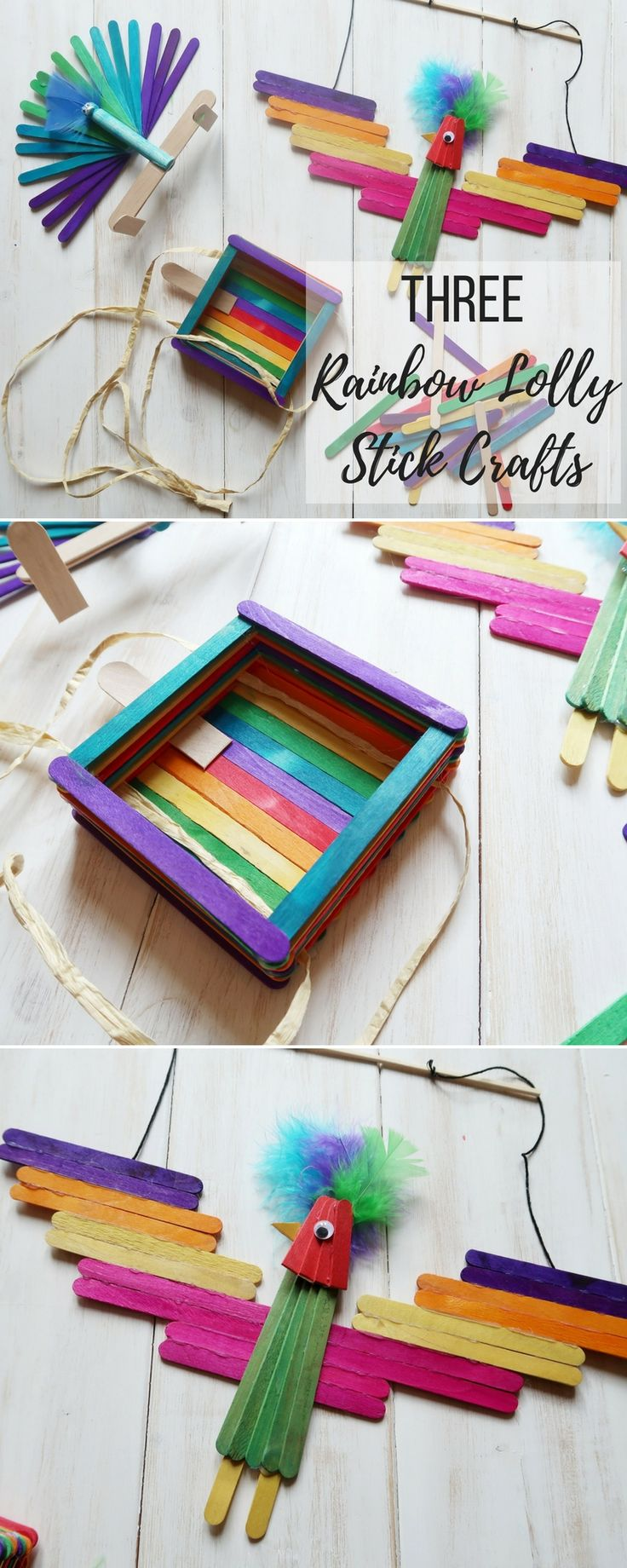 3 Bird Themed Rainbow Lolly Stick Crafts. How to make 3 bird crafts with rainbow lolly sticks - a bird feeder, parrot and peacock. Colourful crafts that kids will love to play with #crafts #kids #lollysticks #popsiclesticks