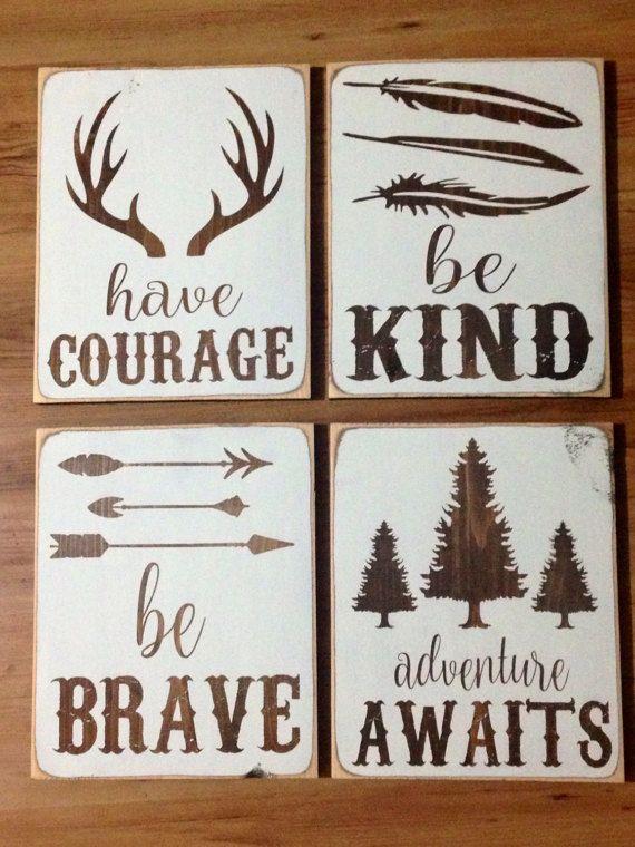 rustic nursery decor be brave have courage deer by KKsCraftyMama