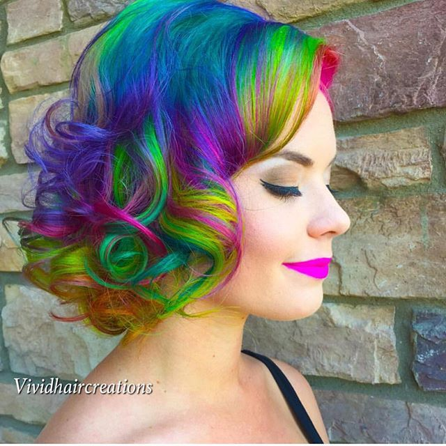 Short mermaid hair rainbow hair unicorn hair neon hair color hotonbeauty.com