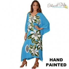 AIRLIE BLUE Hand-painted Kaftan (caftan) plus size. Hawaiian style for cruise, beach or fancy dress.