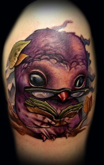 http://tattoo-ideas.us Owl Reading Tattoo