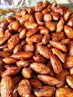 Honey Cinnamon Roasted Almonds. Turn out very tasty! Just remove from the pan while the honey is still slightly warm (or else they will stick to the tinfoil).