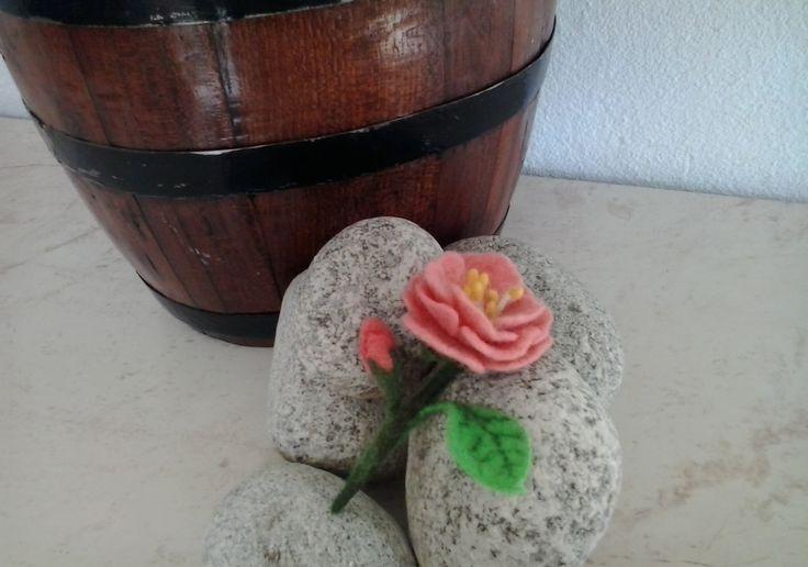 Gifts, Felt Flower Bouquet, Pink and green flowers, Original handmade Floral Arrangement, Flower Gift by MalinaLinART on Etsy