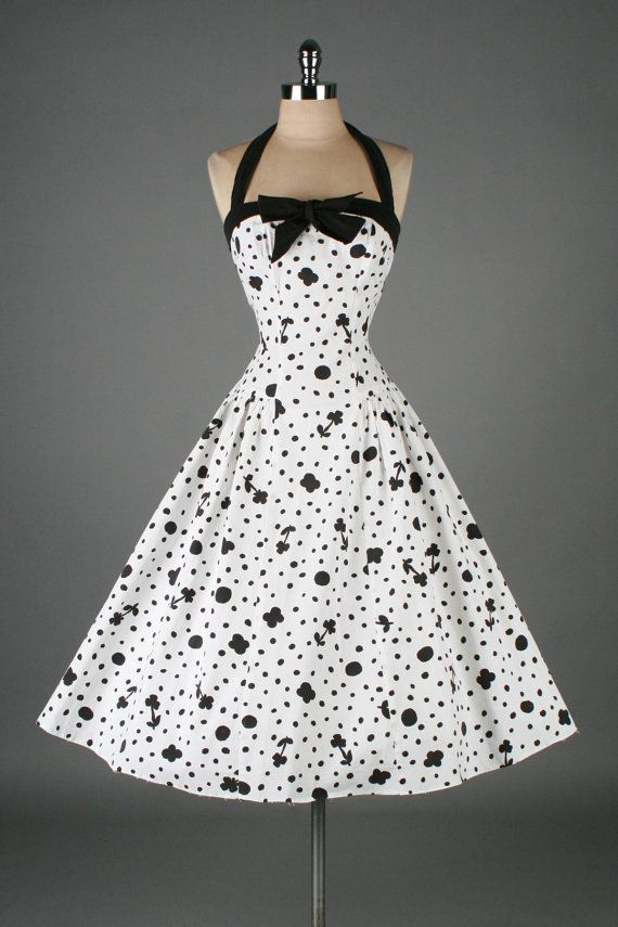 Vintage 50's black & white cotton floral and dots print halter dress