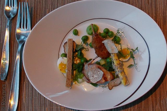 Pan fried breast of quail:  confit leg of quail, boiled eggs, broad beans, asparagus, spring truffle, crispy sourdough - simple and scrumptious dish - probably the best of them all? by chef Robert Thompson