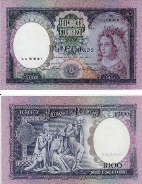 Portugal - 1000 escudos – D. Filipa de Lencastre Entrada em circulação: 23-05-1962 Retirada de circulação: 30-06-1979
