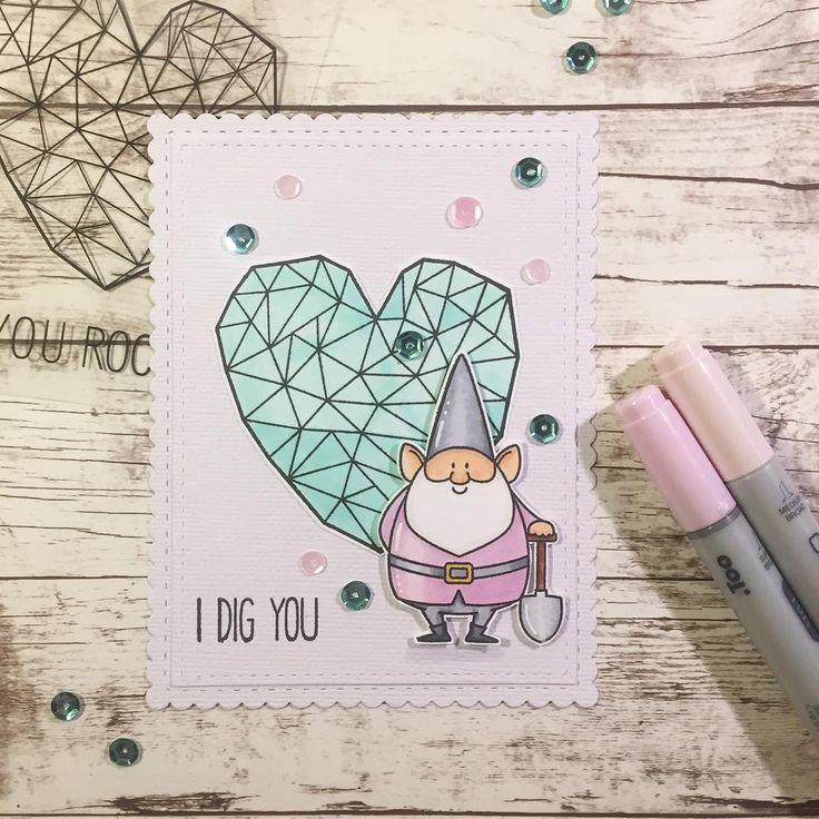 I dig you  That little garden gnome have stolen my heart  he's tooooo cute  and he looks even better with my favorite heart from @krumspring_ #mitkammer #cardmaking #copiccoloring #krumspringstamps #krumspringtriangles #yourock #mftstamps #yougnomeme #gardengnome #idigyou #sequins #pastels #purple #mint #mintgreen #white #scallops #paperlove #happytime