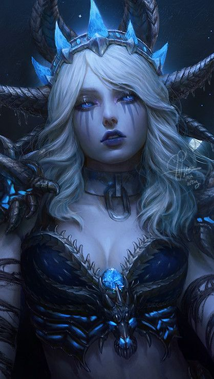 ArtStation - Sindragosa, Ina Wong  artwork girl beautiful face blonde hair blue