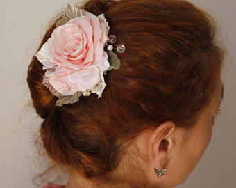 Bridal Headpiece,wedding headpiece,Blush Pink hair Rose,Wedding Hair Clip,Pink rose hair comb,Women girl flower Hair Clip,Flower Fascinator