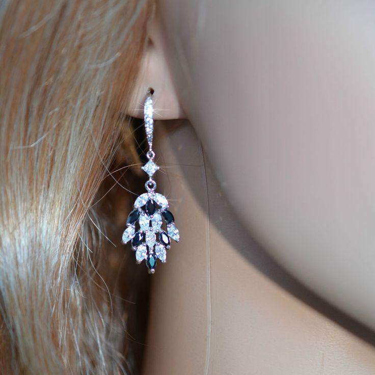 Black Sapphire & White Topaz Small Chandelier Earrings (Sparkle-2672)
