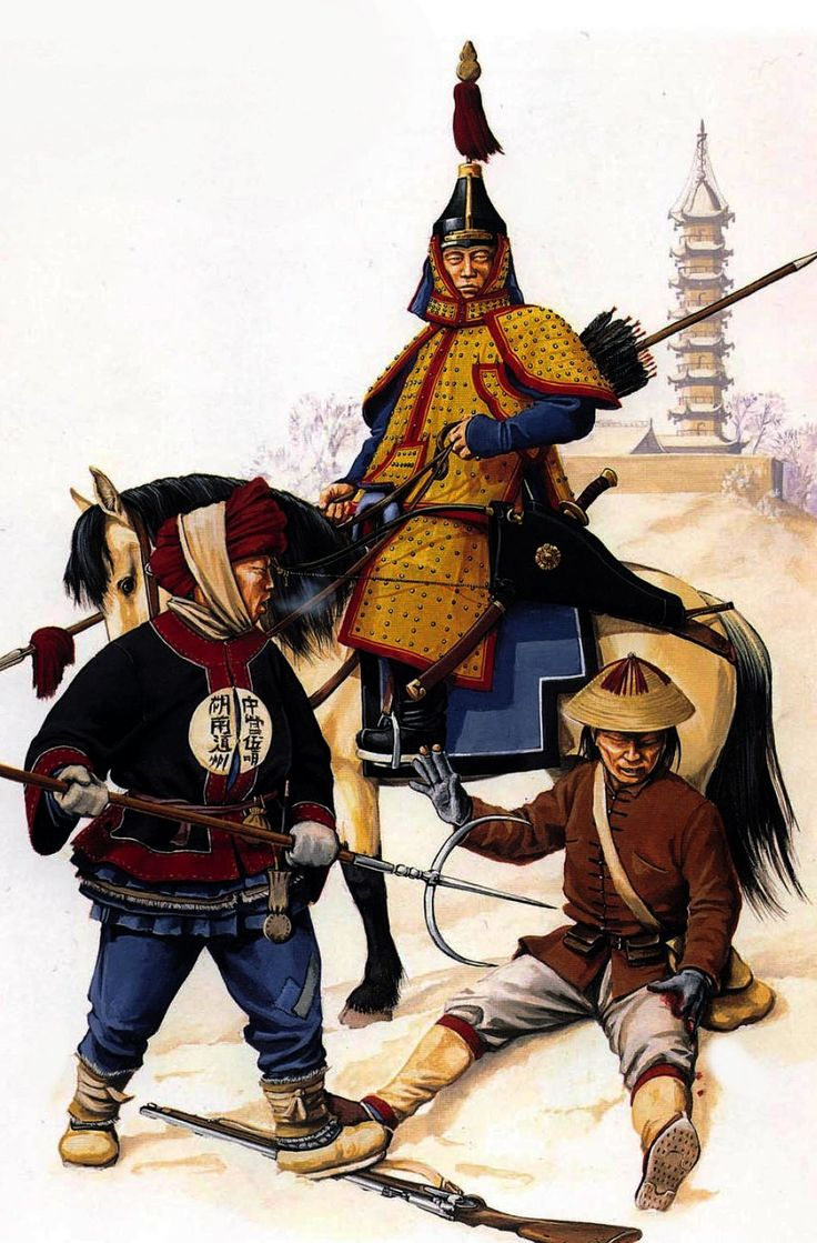 Imperial troops during the Taiping Rebellion, China the wounded musketman is a Taiping rebel