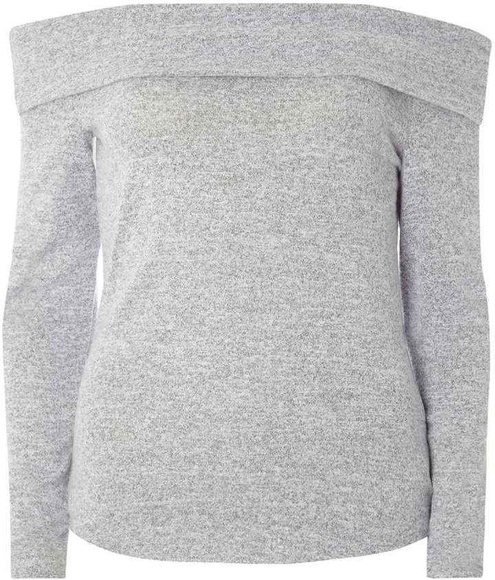 Grey Brushed Bardot Top