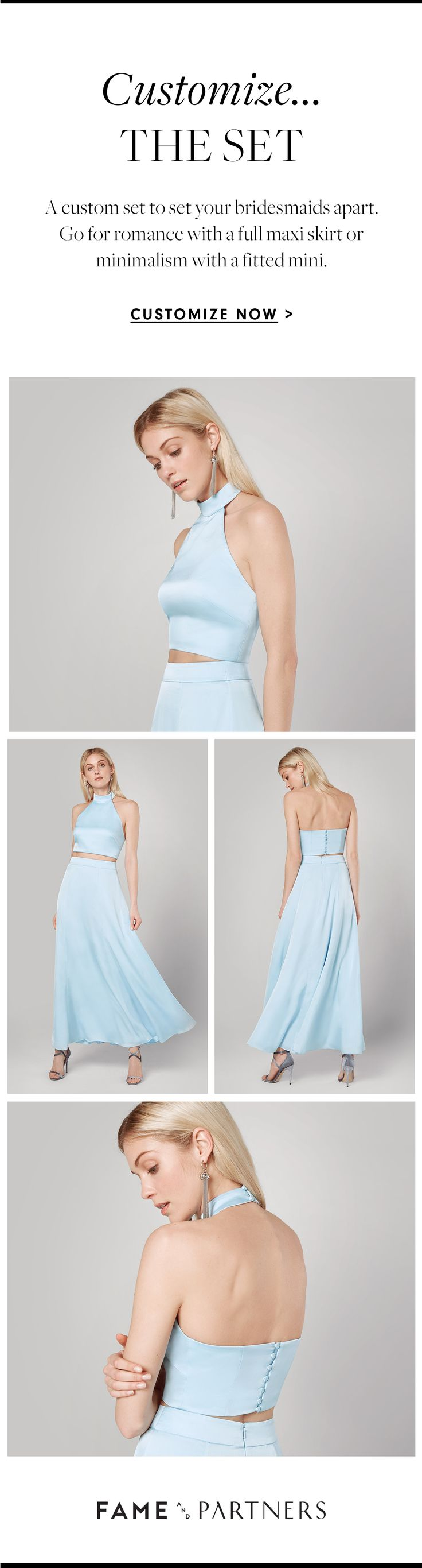 Bridesmaid dresses customizable in 40,000 ways–only with the Wedding Atelier App from Fame and Partners.