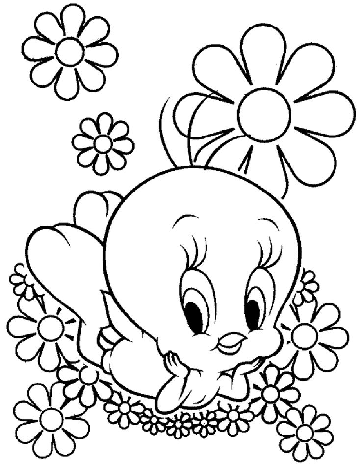 Flowers To Break Chicks Coloring Pages For Kids Printable