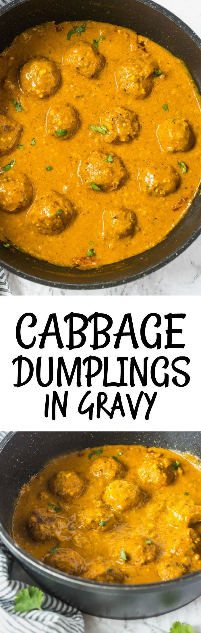 Cabbage Dumplings  // Want to try this without the gravy!