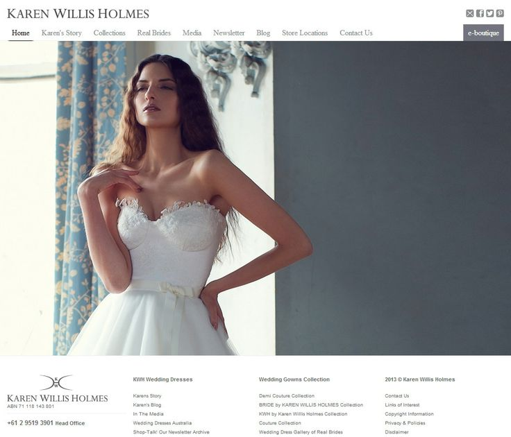 #Ecommerce #website #design: Exquisite #design, coupled with simple navigation and an effective #Search #engine #optimisation strategy have helped put Karen Willis Holmes well ahead of other Bridal Companies on the #Australian stage.