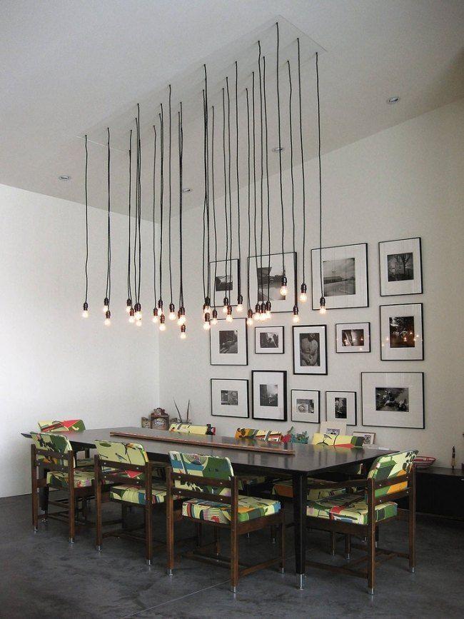 hängeleuchten design esszimmer glühbirne gruppe holz esstisch