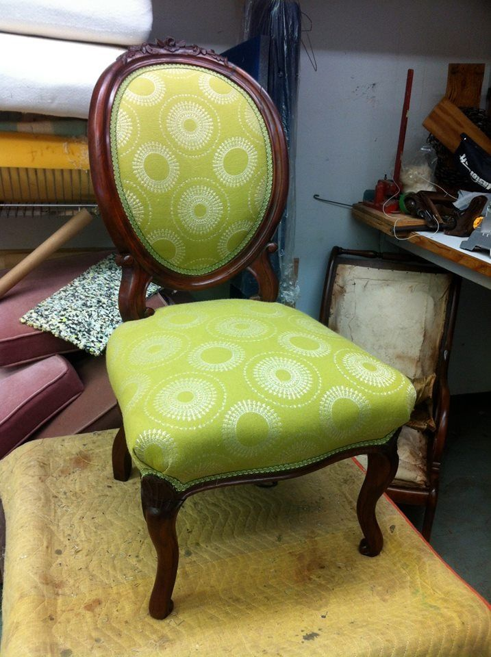 Antique chair. Back was broken in 3 places, refinished wood, hand tied springs with great green fabric.