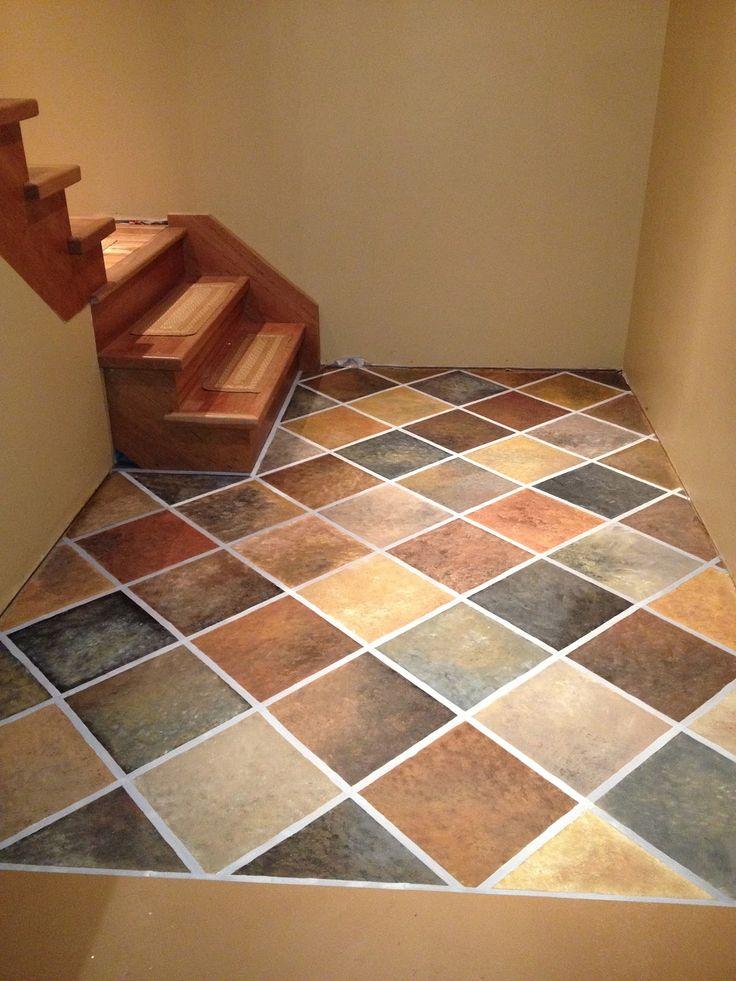 Hand painted Faux Slate Tile Floor on Concrete floor - Stonehaven Simple