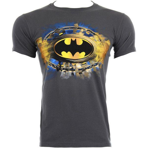 Batman Gold Logo t shirt – grey t shirts – DC tee – Batman clothing UK ($24) ❤ liked on Polyvore