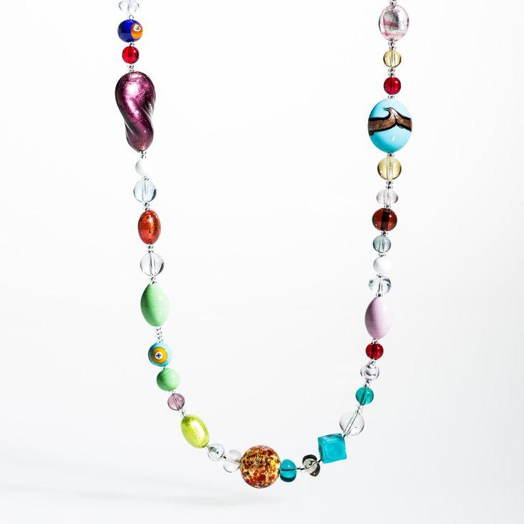 Arcobaleno Necklace - Venetian Murano Glass Jewellery for Australia - www.italianheart.com.au