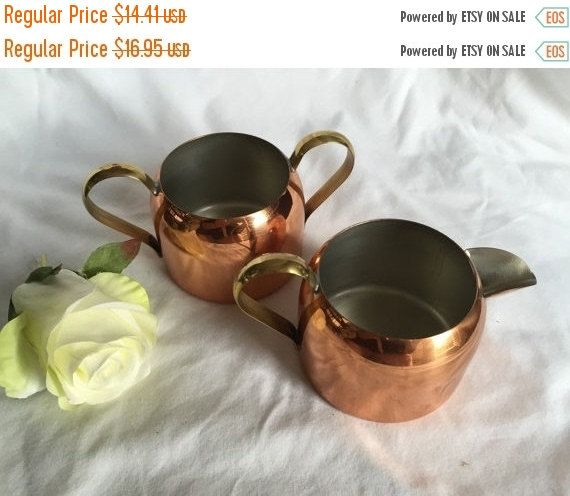 """Coppercraft Copper Creamer and Sugar Bowl Lovely Rich Copper Patina """"Coppercraft Guild""""  Taunton Mass by StudioVintage on Etsy"""