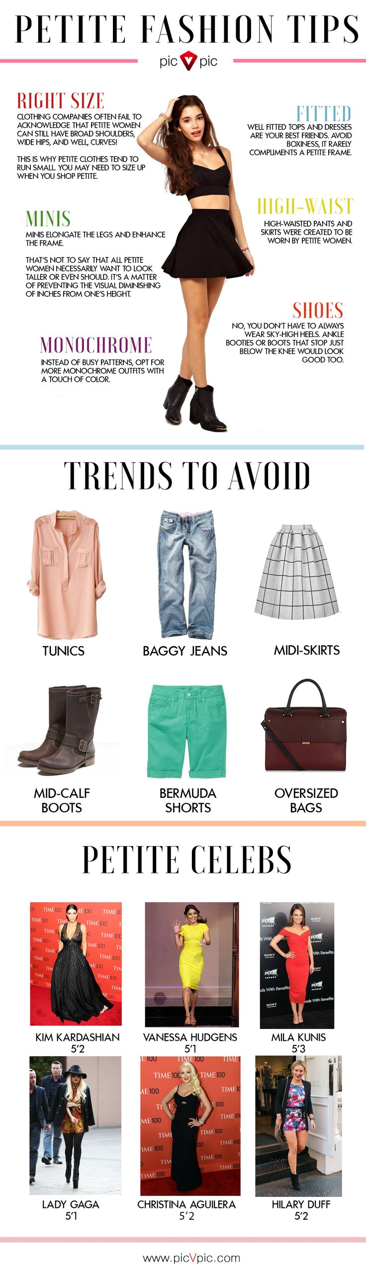 Got some questions about Petite Style? Save this infographic for further reference and leave your concerns behind. Read more about petite style at http://picvpic.com/fashion101/2015/sizing-up-petite-fashion/