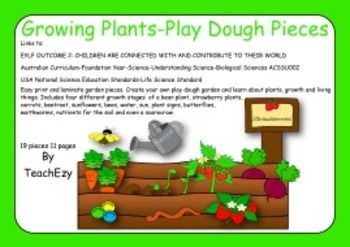 Easy print and laminate garden pieces. Create your own play dough garden and learn about plants, growth and living things. Includes four different growth stages of a bean plant, strawberry plants, carrots, beetroot, sunflowers, bees, water, sun, plant signs, butterflies, earthworms, nutrients for the soil and even a scarecrow.  Links to: EYLF OUTCOME 2 Australian Curriculum-Foundation Year-Science- ACSSU002 USA National Science Education Standards-Life Science Standard