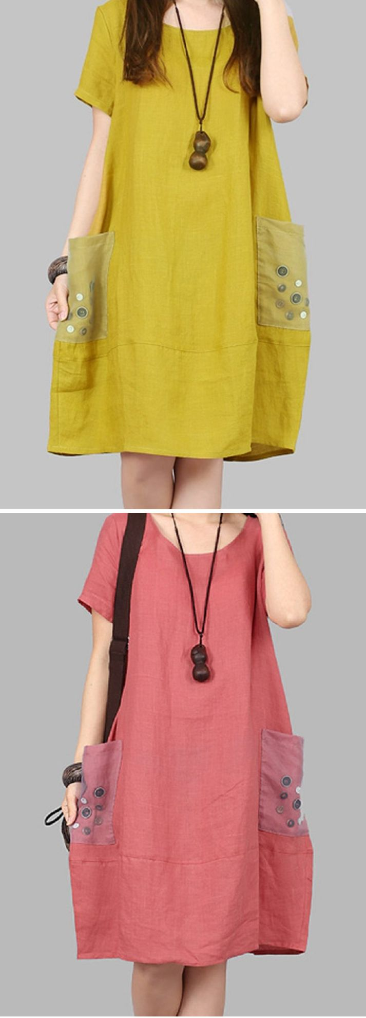 US$ 23.79 Casual Pocket Button Decorate Short Sleeve O-neck Dress For Women