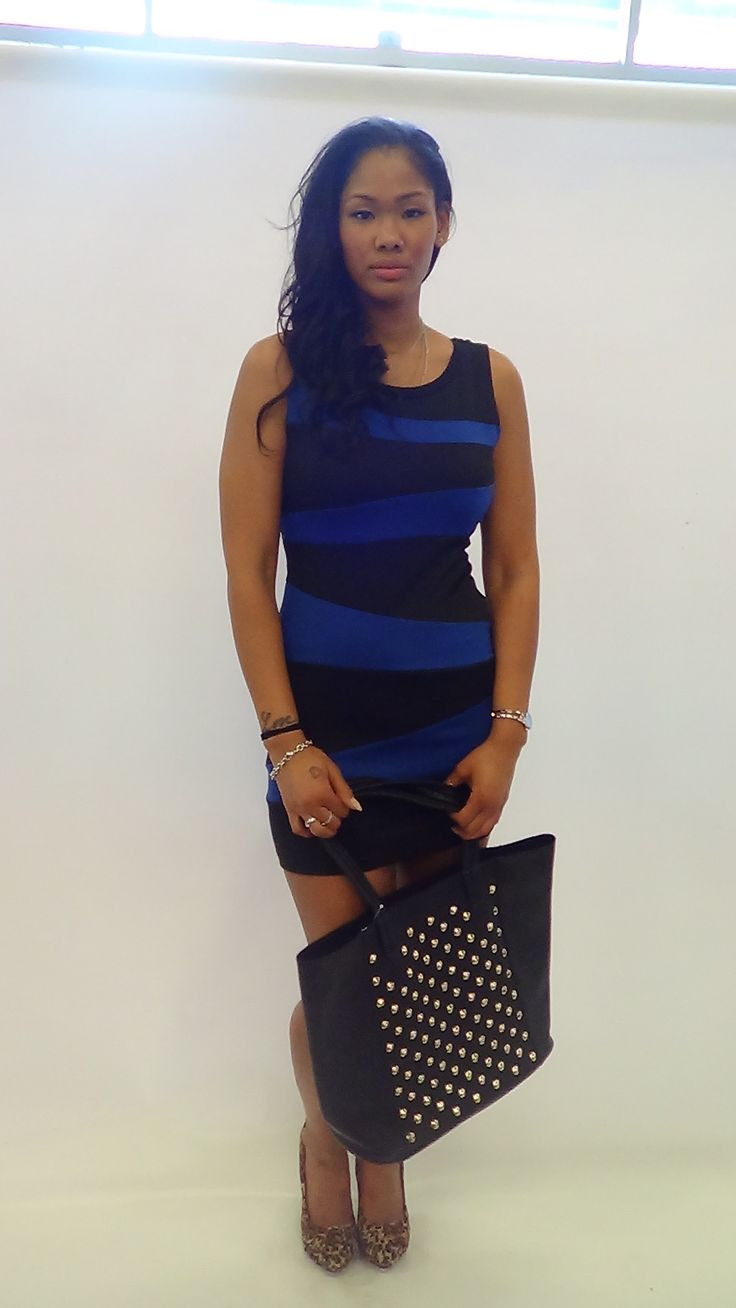 Cobalt blue and black dress