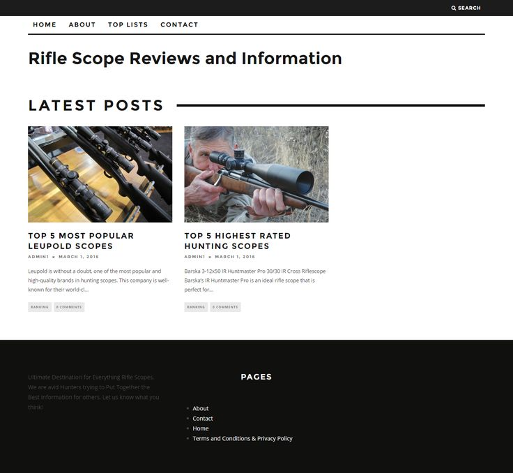 Rifle Scope are avid Hunters trying to Put Together the Best Information and Reviews about Rifle Scopes for others.  http://theriflescope.com/