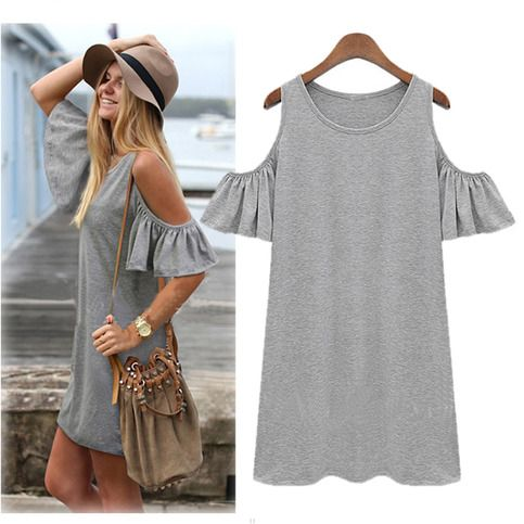Women Butterfly Sleeve Cotton Cute Strap off Shoulder Vest dress plus size