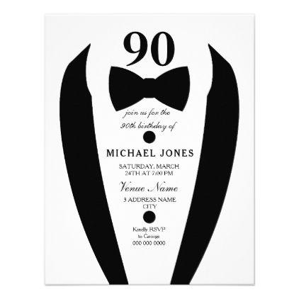 Black White Tuxedo Mens 90th Birthday Party Invite