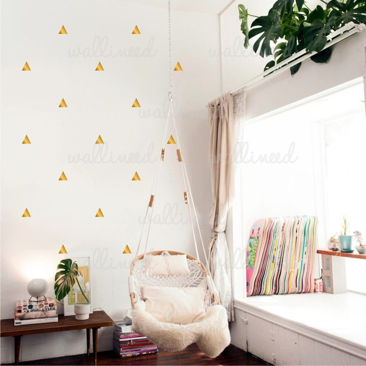Easy Diy Home Decor Metallic Gold Triangles Wall Decal  wallineed.com