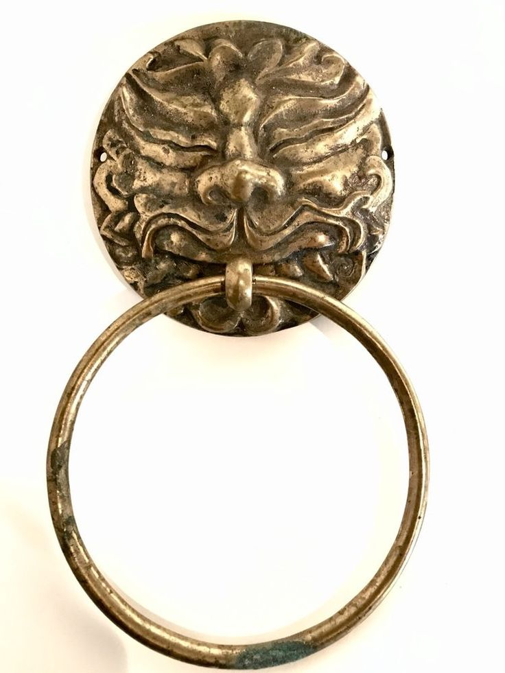 Antique Brass Towel Holder Asian Stylized Lion Head Wall Mount Rich Aged Patina  | eBay