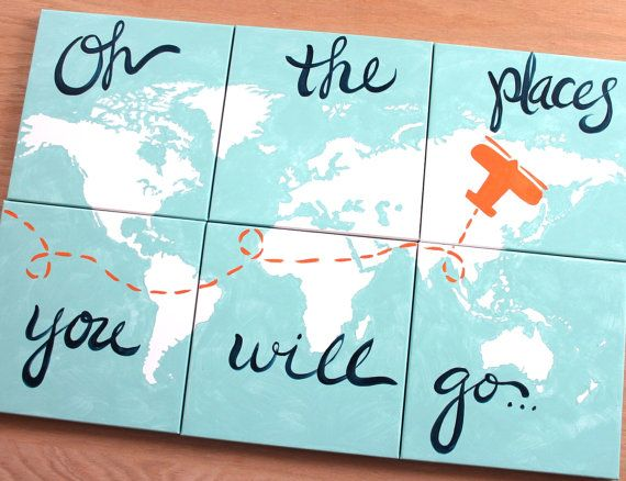 teal, orange, navy. oh the places you will go . 6 - 12x12's . world map on canvas . 3'x2' . personalize, custom nursery decor . sincerelyyou...