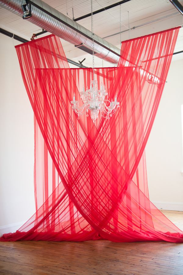 Red  Drapery Ceremony Backdrop Navy Blue & Red Wedding at 701 Whaley Photographer: Palmetto Duo