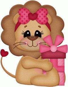 Silhouette Design Store - View Design #74184: valentine lion w gift