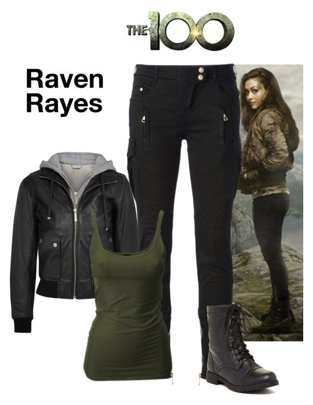 """""""Raven Rayes - The 100"""" by gone-girl ❤ liked on Polyvore featuring Reyes, MICHAEL Michael Kors, Balmain and Red Circle"""