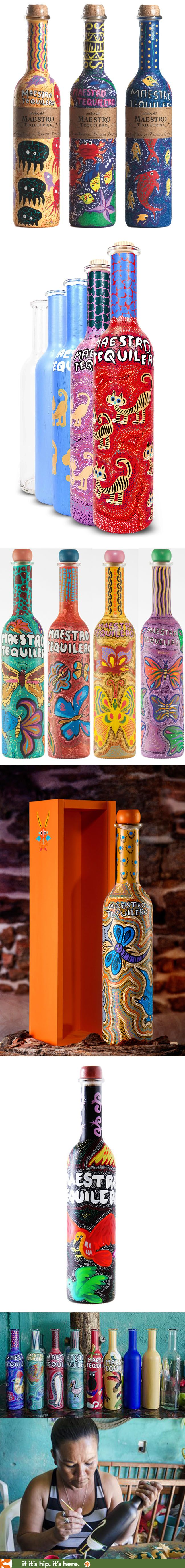 """Each year since 2010, Maestro Tequilero has offered a limited collection, """"Atelier Maestro"""", of themed bottles hand painted by Oaxacan Artists. Here are the Birds, Butterflies, Animals and Sea Creatures PD"""