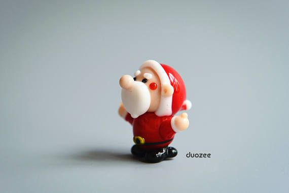 Handmade Lampwork Glass Miniature Santa Figurine Thumbs Up