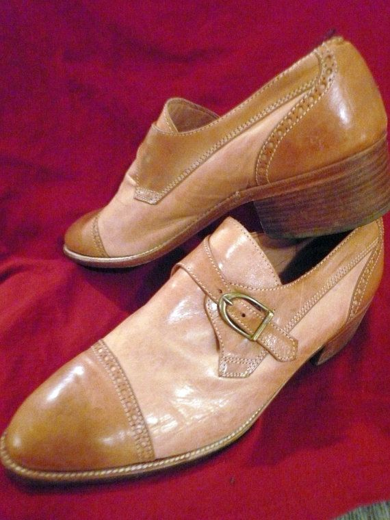 Vintage Mens Leather Loafer Shoes Two Toned Tan by Tasteliberty, $89.00