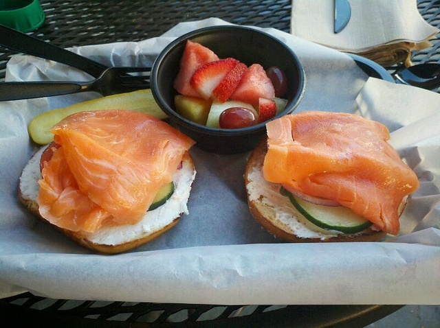 Everything bagel with Nova lox and scallion cream cheese @ Noahs Bagels
