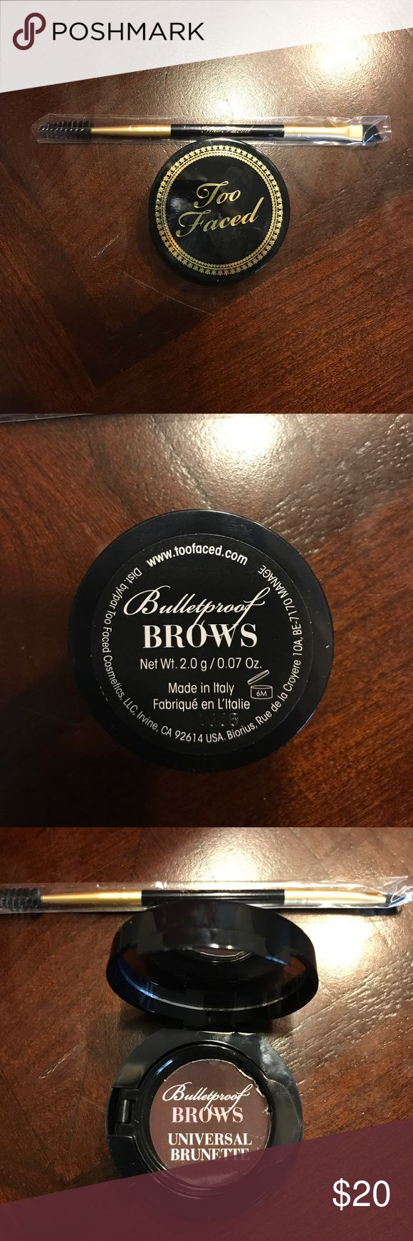 Too Faced Bulletproof Brows with Brush Brand New, Never Used Too Faced bulletproof Brows in Universal Brown. Includes a new, not used Too Faced brush as well. Too Faced Makeup Eyebrow Filler