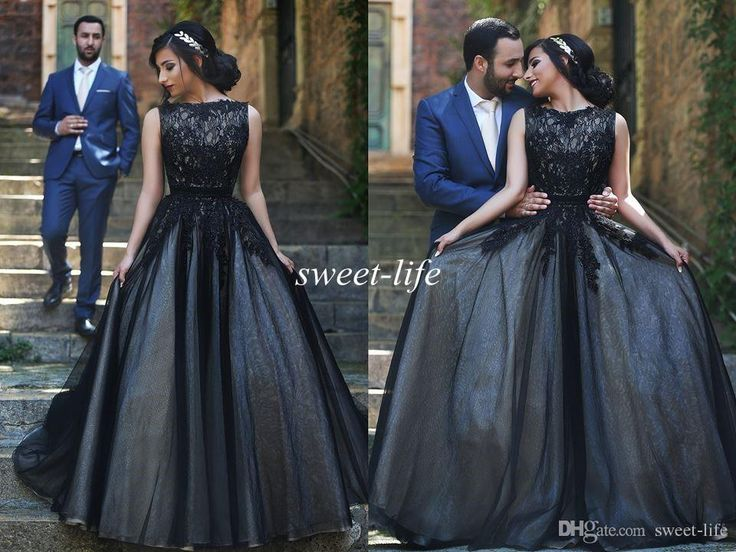 Arabic Prom Dresses 2015 Black Lace Tulle Cheap Ball Gown Jewel Sleeveless Vintage Custom Made Plus Size Women Evening Dresses Formal Gowns