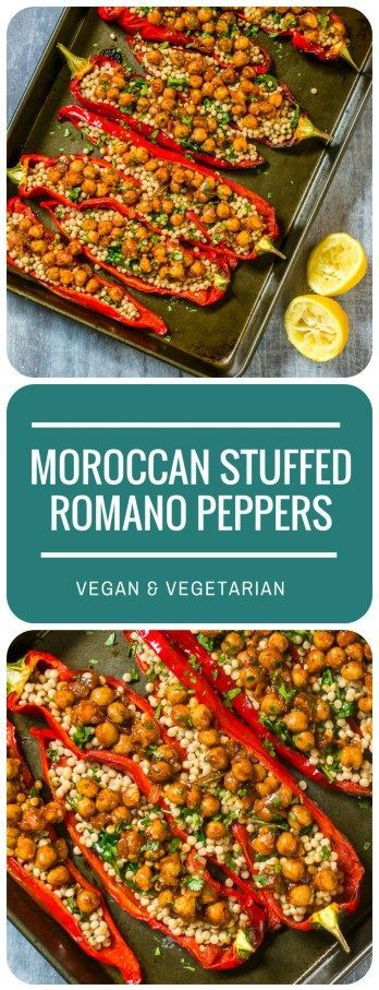 These Moroccan Stuffed Romano Peppers are super-simple to make, but incredibly tasty, with harissa-braised chickpeas and lemony giant couscous. Vegan & vegetarian.